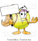 Vector Illustration of a Softball Girl Mascot Holding a Blank Sign by Toons4Biz