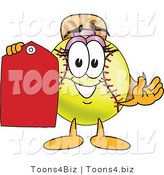 Vector Illustration of a Softball Girl Mascot Holding a Blank Tag by Toons4Biz