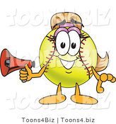 Vector Illustration of a Softball Girl Mascot Holding a Megaphone by Toons4Biz