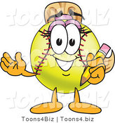 Vector Illustration of a Softball Girl Mascot Holding a Pencil by Toons4Biz