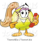 Vector Illustration of a Softball Girl Mascot Holding a Phone by Toons4Biz