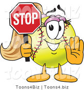 Vector Illustration of a Softball Girl Mascot Holding a Stop Sign by Toons4Biz