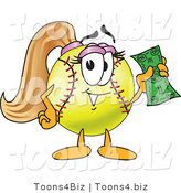 Vector Illustration of a Softball Girl Mascot Holding Money by Toons4Biz