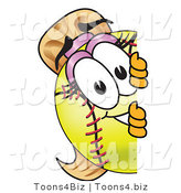 Vector Illustration of a Softball Girl Mascot Looking Around a Blank Sign by Toons4Biz