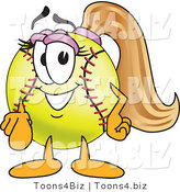 Vector Illustration of a Softball Girl Mascot Pointing Outwards by Toons4Biz