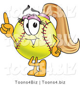 Vector Illustration of a Softball Girl Mascot Pointing Upwards by Toons4Biz