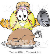 Vector Illustration of a Softball Girl Mascot Serving a Thanksgiving Turkey by Toons4Biz