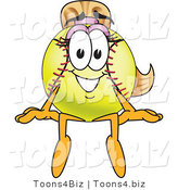 Vector Illustration of a Softball Girl Mascot Sitting on a Ledge by Toons4Biz