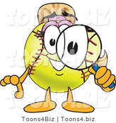 Vector Illustration of a Softball Girl Mascot Using a Magnifying Glass by Toons4Biz