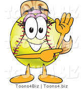 Vector Illustration of a Softball Girl Mascot Waving and Pointing by Toons4Biz