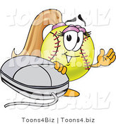 Vector Illustration of a Softball Girl Mascot Waving by a Computer Mouse by Toons4Biz