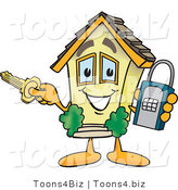 Vector Illustration of a Unlocked Cartoon Home Mascot Holding a Lock and Key by Toons4Biz