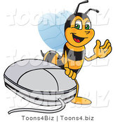Vector Illustration of a Worker Bee Mascot by a Computer Mouse by Toons4Biz