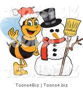 Vector Illustration of a Worker Bee Mascot by a Snowman by Toons4Biz