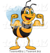 Vector Illustration of a Worker Bee Mascot Flexing by Toons4Biz