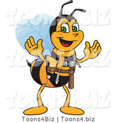 Vector Illustration of a Worker Bee Mascot Handyman by Toons4Biz