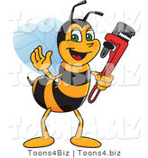 Vector Illustration of a Worker Bee Mascot Holding a Monkey Wrench by Toons4Biz