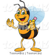 Vector Illustration of a Worker Bee Mascot Holding a Pencil by Toons4Biz