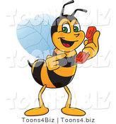 Vector Illustration of a Worker Bee Mascot Holding a Phone by Toons4Biz