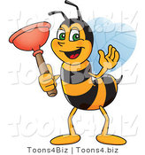 Vector Illustration of a Worker Bee Mascot Holding a Plunger by Toons4Biz
