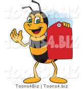 Vector Illustration of a Worker Bee Mascot Holding a Price Tag by Toons4Biz