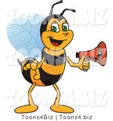 Vector Illustration of a Worker Bee Mascot Holding a Stop Sign by Toons4Biz