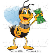 Vector Illustration of a Worker Bee Mascot Holding Cash by Toons4Biz