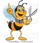 Vector Illustration of a Worker Bee Mascot Holding Scissors by Toons4Biz