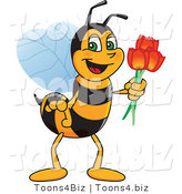 Vector Illustration of a Worker Bee Mascot Holding Tulips by Toons4Biz