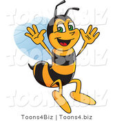 Vector Illustration of a Worker Bee Mascot Jumping by Toons4Biz