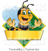 Vector Illustration of a Worker Bee Mascot Logo Mascot over a Blank Banner on a Green Diamond by Toons4Biz