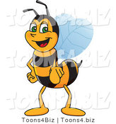 Vector Illustration of a Worker Bee Mascot Pointing Outwards by Toons4Biz