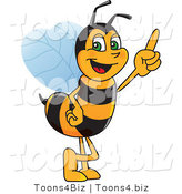 Vector Illustration of a Worker Bee Mascot Pointing Upwards by Toons4Biz