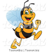 Vector Illustration of a Worker Bee Mascot Running by Toons4Biz