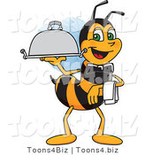 Vector Illustration of a Worker Bee Mascot Serving a Platter by Toons4Biz
