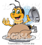 Vector Illustration of a Worker Bee Mascot Serving a Thanksgiving Turkey by Toons4Biz