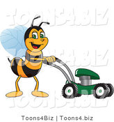 Vector Illustration of a Worker Bee Mascot Using a Lawn Mower by Toons4Biz