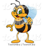 Vector Illustration of a Worker Bee Mascot Using a Magnifying Glass by Toons4Biz