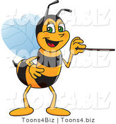 Vector Illustration of a Worker Bee Mascot Using a Pointer Stick by Toons4Biz