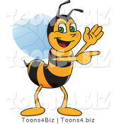 Vector Illustration of a Worker Bee Mascot Waving and Pointing by Toons4Biz