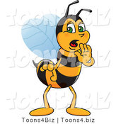 Vector Illustration of a Worker Bee Mascot Whispering by Toons4Biz