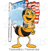 Vector Illustration of a Worker Bee Mascot with an American Flag by Toons4Biz