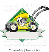Vector Illustration of a Yellow Cartoon Lawn Mower Mascot Chewing Grass on a Blank Ribbon Label by Toons4Biz