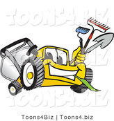 Vector Illustration of a Yellow Cartoon Lawn Mower Mascot Facing Front and Carrying Gardening Tools by Toons4Biz
