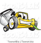 Vector Illustration of a Yellow Cartoon Lawn Mower Mascot Facing Front and Chewing on a Blade of Grass by Toons4Biz