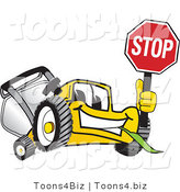Vector Illustration of a Yellow Cartoon Lawn Mower Mascot Facing Front and Holding a Stop Sign by Toons4Biz