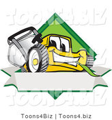 Vector Illustration of a Yellow Cartoon Lawn Mower Mascot Facing Front on a Diamond Shaped Logo with a Blank White Banner by Toons4Biz