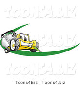 Vector Illustration of a Yellow Cartoon Lawn Mower Mascot Facing Front on a Logo or Nametag with a Green Dash by Toons4Biz