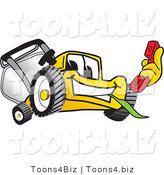 Vector Illustration of a Yellow Cartoon Lawn Mower Mascot Holding a Red Telephone by Toons4Biz