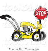 Vector Illustration of a Yellow Cartoon Lawn Mower Mascot Holding a Stop Sign by Toons4Biz